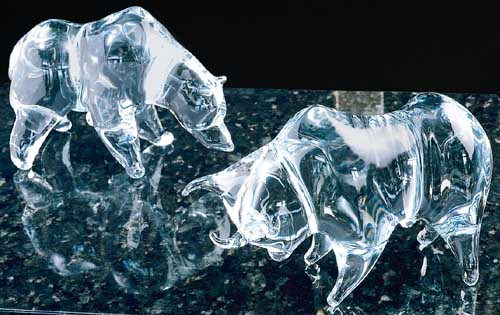 A Picture of the Traditional Wall Street Bull & Bear (in Crystal)...